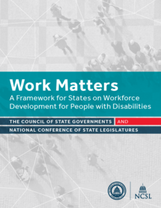 Work Matters: A Framework for States on Workforce Development for People with Disabilities Cover